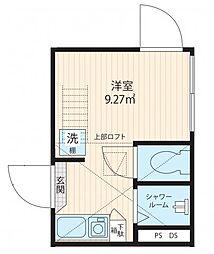 JR総武線 東中野駅 徒歩9分の賃貸マンション 2階ワンルームの間取り