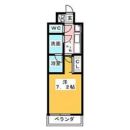 CREVISTA練馬桜台II 3階1Kの間取り