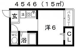 セラ天王寺A[1階]の間取り