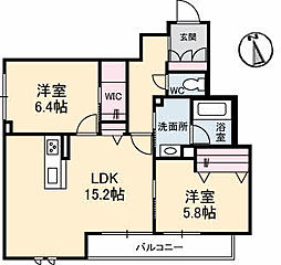 高松琴平電気鉄道長尾線 林道駅 徒歩1分の賃貸マンション 2階2LDKの間取り