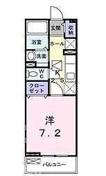 JR山陽本線 五日市駅 徒歩30分の賃貸アパート 1階1Kの間取り