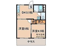 京都府京都市伏見区深草大亀谷西久宝寺町の賃貸アパートの間取り