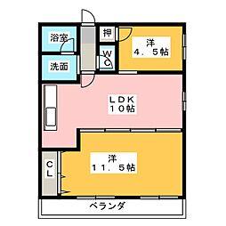 第2コーポ明利[4階]の間取り
