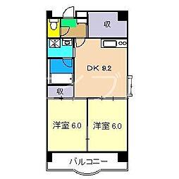ClareFujimoto南棟(クレアフジモト)[3階]の間取り