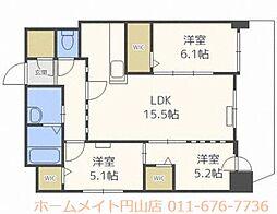 北海道札幌市中央区南十四条西11丁目の賃貸マンションの間取り