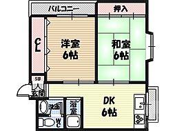 コスモ城東 3階2DKの間取り
