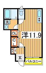千葉県流山市大字三輪野山の賃貸アパートの間取り