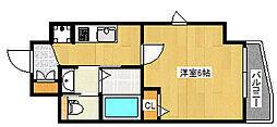 エステムコート神戸山手ステーションデュオ 10階1Kの間取り