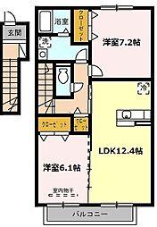 愛知県名古屋市名東区高針5丁目の賃貸アパートの間取り