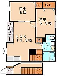 福岡県飯塚市多田の賃貸アパートの間取り