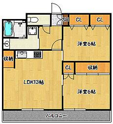 兵庫県神戸市兵庫区下沢通8丁目の賃貸マンションの間取り