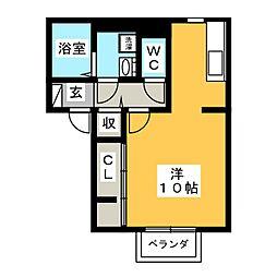 (仮)D-room海老名市国分南 2階ワンルームの間取り