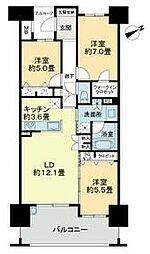 ライオンズマンション六ツ門サンリヤンタワー[11階]の間取り