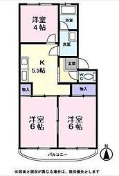 サンハイツ六浦[3-D号室]の間取り
