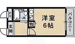 サンロード白鷺 4階ワンルームの間取り