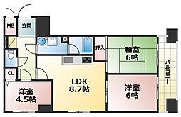 神戸中央壱番館ハウス[6階]の間取り