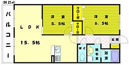 福岡県古賀市日吉3の賃貸アパートの間取り