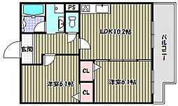 大阪府堺市北区北長尾町6丁の賃貸マンションの間取り