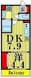 東武伊勢崎線 東向島駅 徒歩4分の賃貸マンション 2階1DKの間取り