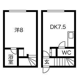 JPコート美園II 1階1LDKの間取り