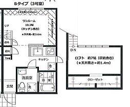 PRIMA GARDEN 所沢壱番館 2階1Kの間取り