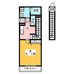 リブリ・富士 1階1Kの間取り