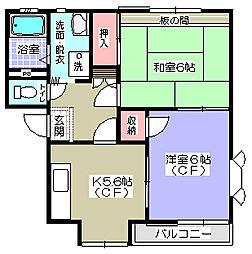 神奈川県横須賀市浦賀5丁目の賃貸アパートの間取り