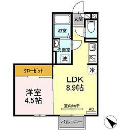 (仮)D-room西本町 B棟[205号室]の間取り