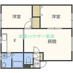 北海道札幌市東区北十四条東16丁目の賃貸アパートの間取り