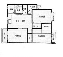福岡県北九州市小倉南区徳吉西1丁目の賃貸アパートの間取り
