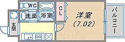 阪急神戸本線 春日野道駅 徒歩4分の賃貸マンション 6階1Kの間取り