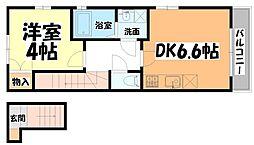 JR東北本線 長町駅 徒歩3分の賃貸アパート 2階1DKの間取り