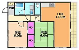 奥田ハイツIII 2階2LDKの間取り