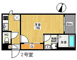 JR山陽本線 広島駅 徒歩19分の賃貸アパート 2階1Kの間取り