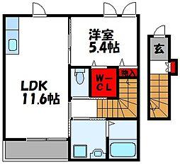仮称)古賀市中央2丁目アパート[203号室]の間取り