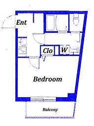 都電荒川線 荒川遊園地前駅 徒歩3分の賃貸マンション 2階1Kの間取り