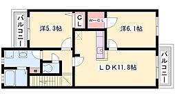 兵庫県加古郡稲美町国岡6丁目の賃貸アパートの間取り