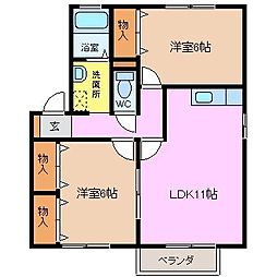 三重県四日市市羽津山町の賃貸アパートの間取り