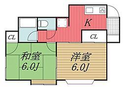 千葉県千葉市若葉区小倉台1丁目の賃貸アパートの間取り