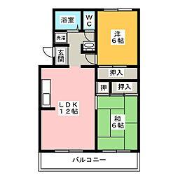 グリーンハイツ蜆塚[2階]の間取り