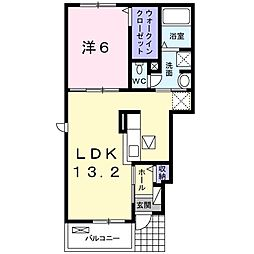 JR宇野線 宇野駅 4.4kmの賃貸アパート 1階1LDKの間取り
