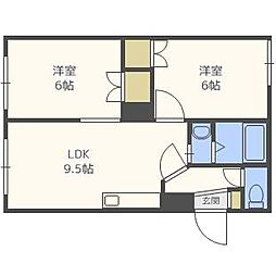 ビッグバーンズマンション八軒II[2階]の間取り