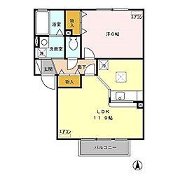 グリーンカースル A[1階]の間取り