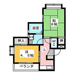 シャンポールKII[1階]の間取り