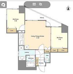 都営三田線 芝公園駅 徒歩4分の賃貸マンション 13階2LDKの間取り