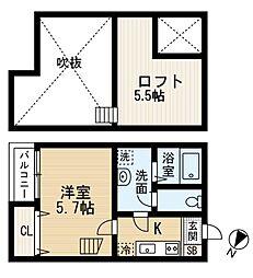 宮城県仙台市青葉区子平町の賃貸アパートの間取り