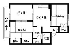 静岡県浜松市中区泉2丁目の賃貸アパートの間取り