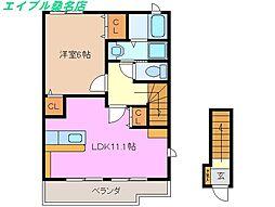 三重県桑名市赤尾台4の賃貸アパートの間取り