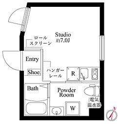 東急池上線 蓮沼駅 徒歩5分の賃貸マンション 3階ワンルームの間取り