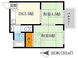 松田マンション 2階2DKの間取り